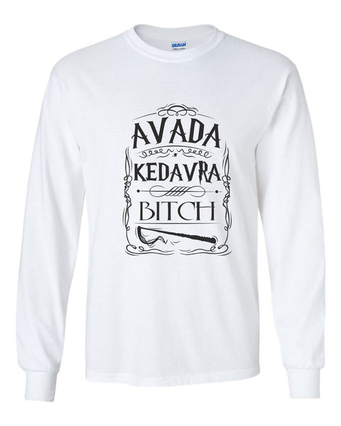 Avada Kedavra Bitch Magic Spell Muggles Wizard Long Sleeve T-shirt for Men - Meh. Geek - 5