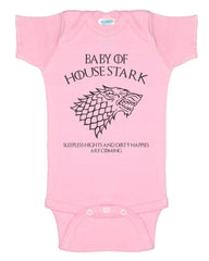 Baby Of House Stark Sleeples nights And Dirty Nappies Are Coming Baby Onesies - Meh. Geek - 4
