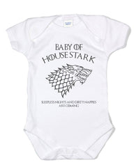 Baby Of House Stark Sleeples nights And Dirty Nappies Are Coming Baby Onesies - Meh. Geek - 6