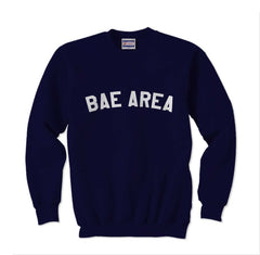 Bae Area Flag Map White Ink Unisex Crewneck Sweatshirt - Meh. Geek