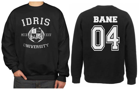 Bane 04 Idris University Unisex Crewneck Sweatshirt Black (Adult)