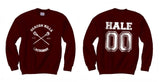 Hale 00 Beacon Hills Lacrosse CROSS Wolf Logo Teen Wolf Crewneck Sweatshirt Maroon Adult