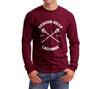 McCall 11 White Ink On BACK Beacon hills lacrosse On FRONT CROSS Long Sleeve T-shirt for Men Maroon - Meh. Geek - 2