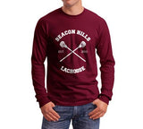 Dunbar 9 White Ink On BACK Beacon hills lacrosse On FRONT CROSS Long Sleeve T-shirt for Men Maroon - Meh. Geek - 2