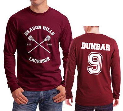 Dunbar 9 White Ink On BACK Beacon hills lacrosse On FRONT CROSS Long Sleeve T-shirt for Men Maroon - Meh. Geek - 1