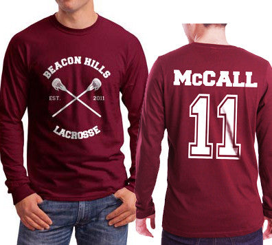 McCall 11 White Ink On BACK Beacon hills lacrosse On FRONT CROSS Long Sleeve T-shirt for Men Maroon - Meh. Geek - 1