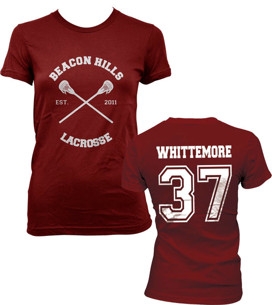Whittemore 37 On BACK Beacon Hills Lacrosse CROSS On FRONT Wolf Women T-shirt