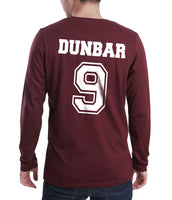 Dunbar 9 White Ink On BACK Beacon hills lacrosse On FRONT CROSS Long Sleeve T-shirt for Men Maroon - Meh. Geek - 3