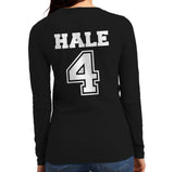 Hale 4 On BACK Beacon Hills Lacrosse Wolf Logo Teen Wolf Front Long sleeve T-shirt for Women - Meh. Geek - 2