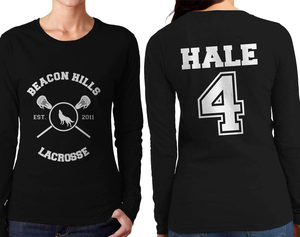 Hale 4 On BACK Beacon Hills Lacrosse Wolf Logo Teen Wolf Front Long sleeve T-shirt for Women - Meh. Geek - 1