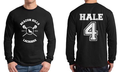 Hale 4 On BACK Beacon hills lacrosse On FRONT Long Sleeve T-shirt for Men - Meh. Geek - 1