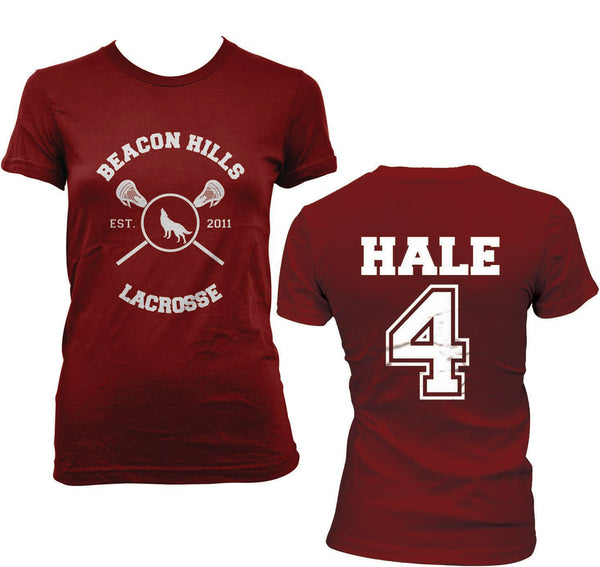 Hale 4 on BACK Beacon Hills Lacrosse Wolf On FRONT Women T-shirt