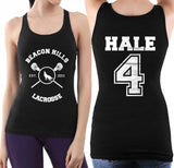 Hale 4 on BACK Beacon Hills Lacrosse Wolf on FRONT Women Tank Top - Meh. Geek - 1