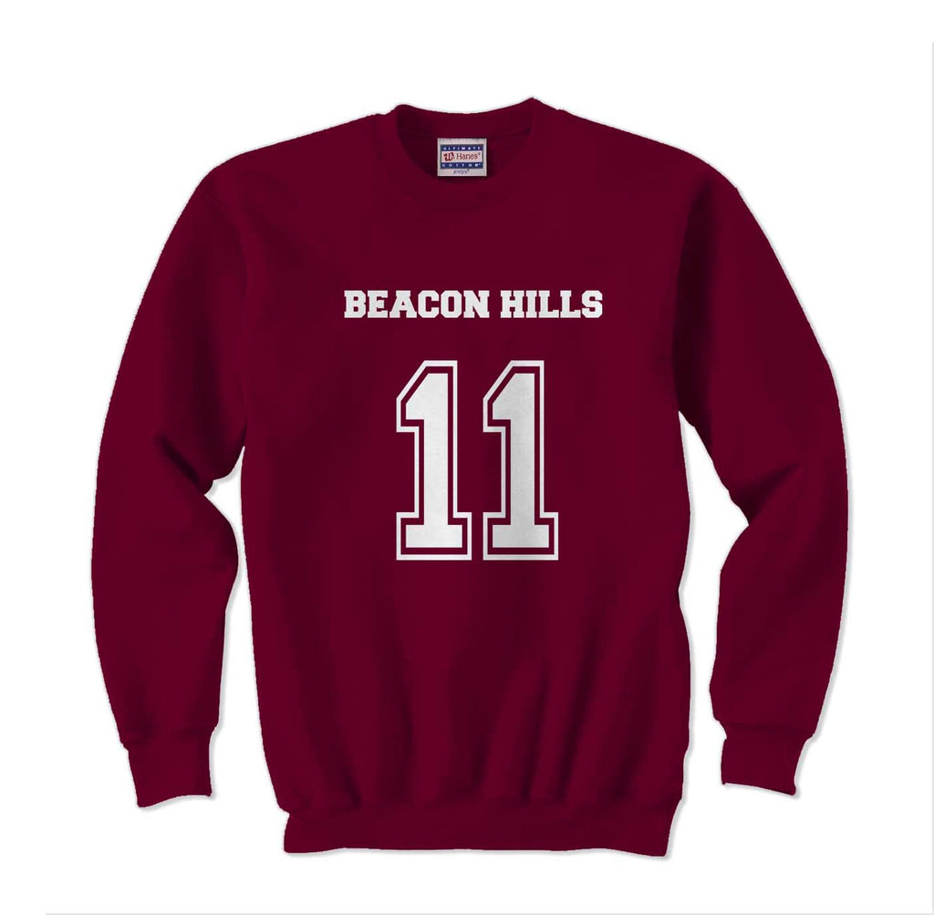 Beacon Hills 11 on Front White Ink Beacon Hills Lacrosse Wolf Crewneck Sweatshirt - Meh. Geek