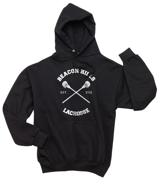 Beacon Hills Lacrosse Logo CROSS on front Pullover Hoodie