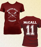 McCall 11 on Back Beacon Hills Lacrosse Wolf Women T-shirt