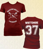 Whittemore 37 on Back Beacon Hills Lacrosse Wolf Women T-shirt