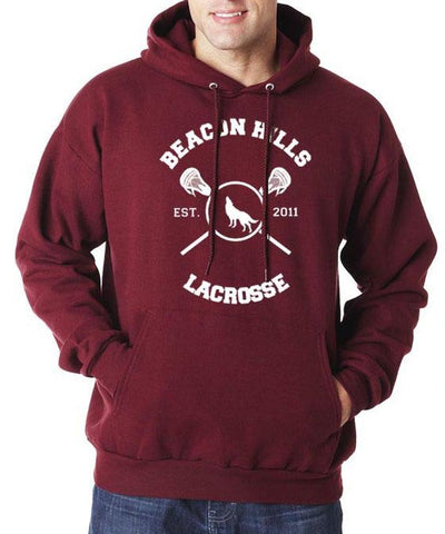 Beacon hills lacrosse Logo Teen Wolf on front Pullover Hoodie Maroon