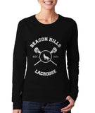 Hale 4 On BACK Beacon Hills Lacrosse Wolf Logo Teen Wolf Front Long sleeve T-shirt for Women - Meh. Geek - 3