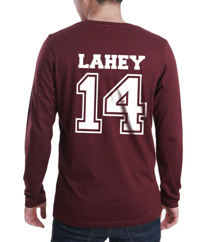 Lahey 14 White Ink on Back Beacon hills lacrosse Long Sleeve T-shirt for Men - Meh. Geek