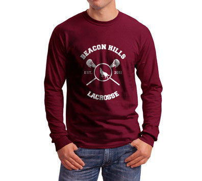 Beacon Hills Lacrosse Wolf Logo Teen Wolf Front Long Sleeve T-shirt for Men - Meh. Geek