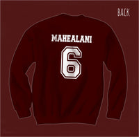 Mahealani 6 on Back White Ink Beacon Hills Lacrosse Wolf Unisex Crewneck Sweatshirt - Meh. Geek