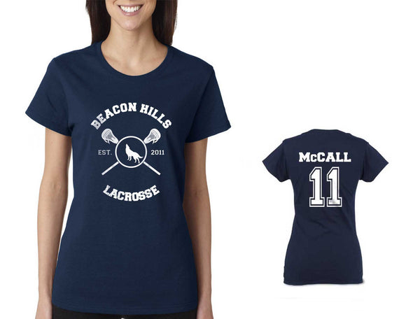 McCALL 11 on BACK Beacon Hills Lacrosse Wolf On FRONT Women T-shirt Navy