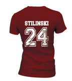 Stilinski 24 On BACK Beacon Hills Lacrosse CROSS On FRONT Wolf Women T-shirt