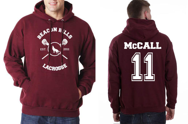 MCCALL 11 on back Beacon hills lacrosse on front Scott Mccall Teen Wolf Pullover Hoodie - Meh. Geek - 1