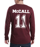 McCall 11 White Ink On BACK Beacon hills lacrosse On FRONT CROSS Long Sleeve T-shirt for Men Maroon - Meh. Geek - 3