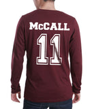 McCall 11 White Ink on Back Beacon hills lacrosse Long Sleeve T-shirt for Men - Meh. Geek