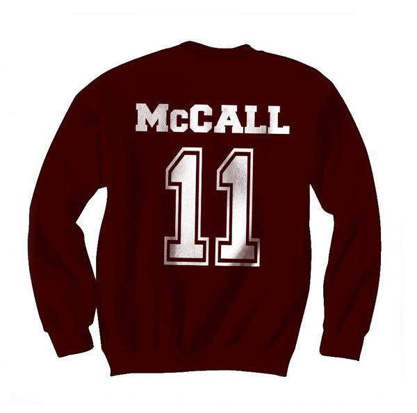 Mccall 11 on Back White Ink Beacon Hills Lacrosse Wolf Crewneck Sweatshirt Adult