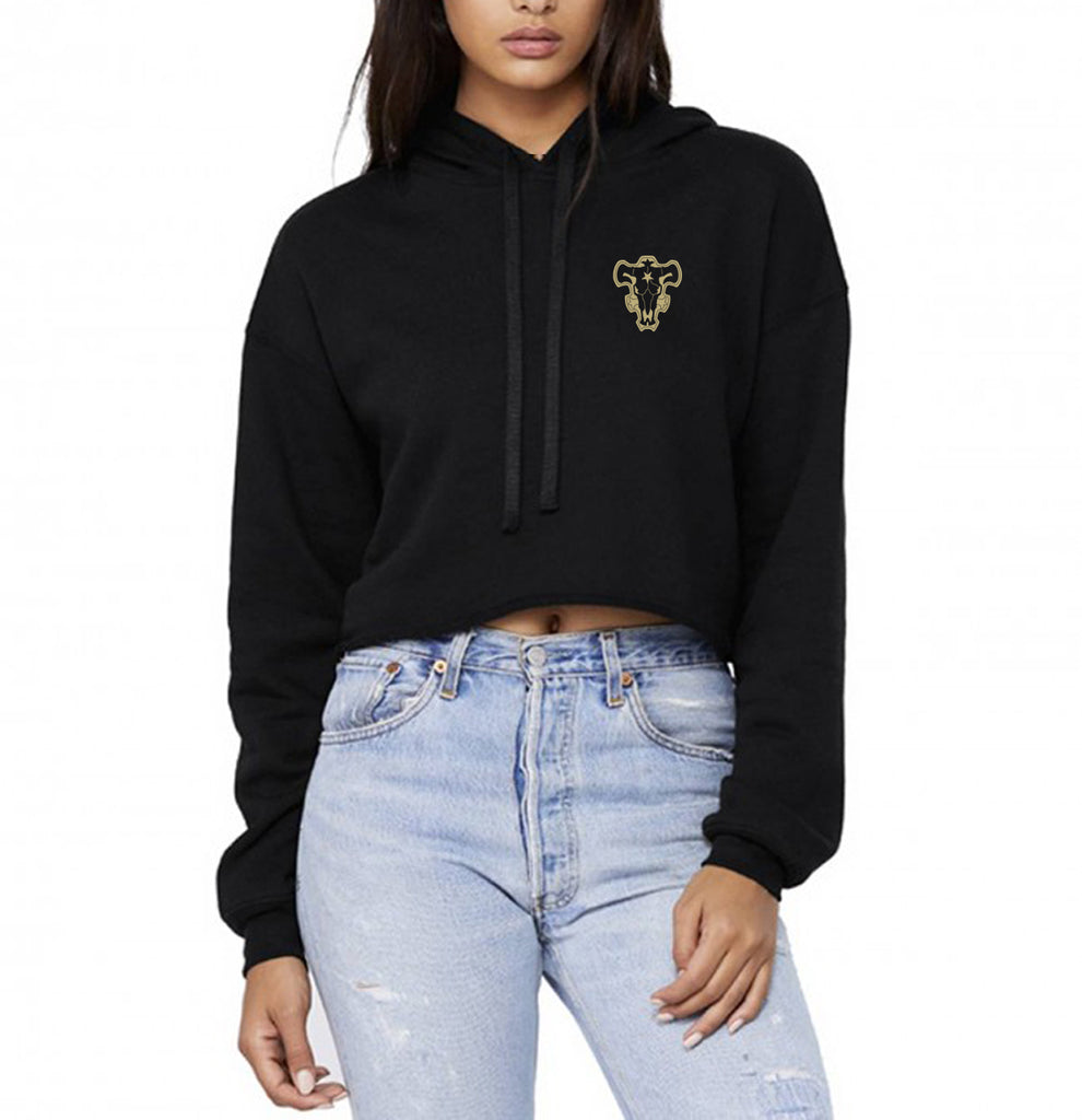 Black Bull Squad Pocket Black Clover Cropped Hoodie