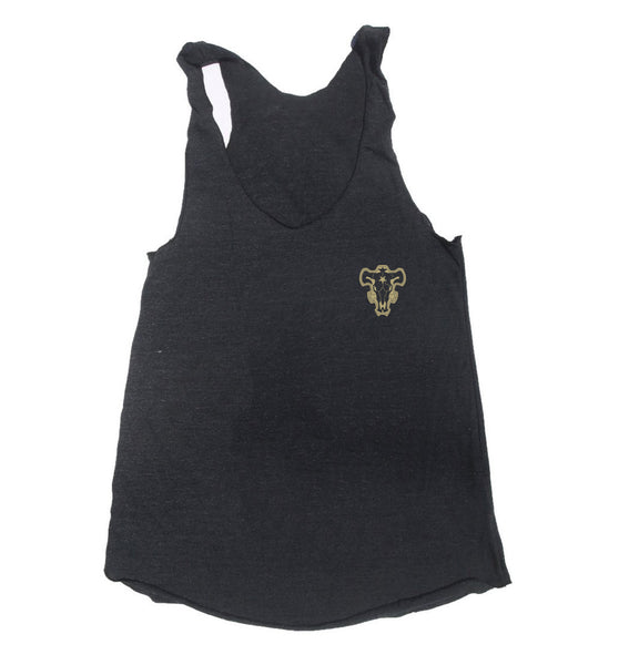Black Bull Pocket Black Clover Triblend Racerback Women Tank Top