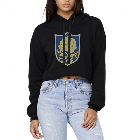 Blue Rose Black Clover Cropped Hoodie