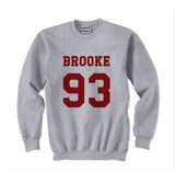 Brooke 93 Maroon Ink on Front Ally Brooke Crewneck Sweatshirt - Meh. Geek