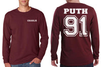Puth 91 Charlie Puth Front Back Men Long Sleeve T-shirt / Tee