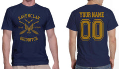 Customize - New Ravenclaw CAPTAIN Quidditch Team Yellow ink Men T-shirt tee Navy
