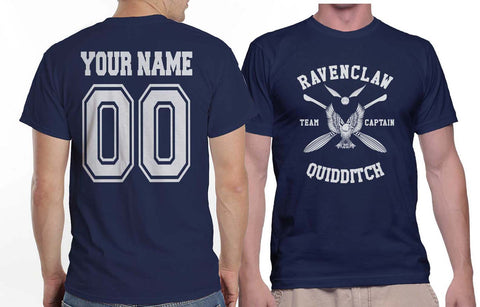 Customize - New Ravenclaw CAPTAIN Quidditch Team White ink Men T-shirt tee Navy