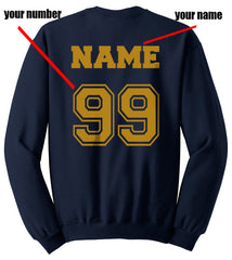 Customize - New Ravenclaw KEEPER Quidditch Team Yellow Unisex Crewneck Sweatshirt Navy (Adult)