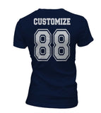Idris University Custom Back Name and Number Women T-shirt Navy