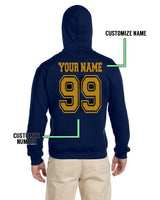 Customize - OLD Ravenclaw CAPTAIN Quidditch Team Yellow Unisex Adult Pullover Hoodie Navy