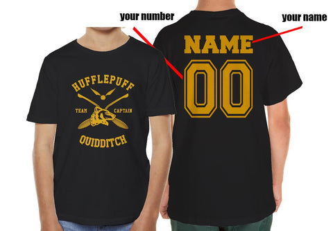 Customize - New Hufflepuff CAPTAIN Quidditch Team Kid / Youth T-shirt tee