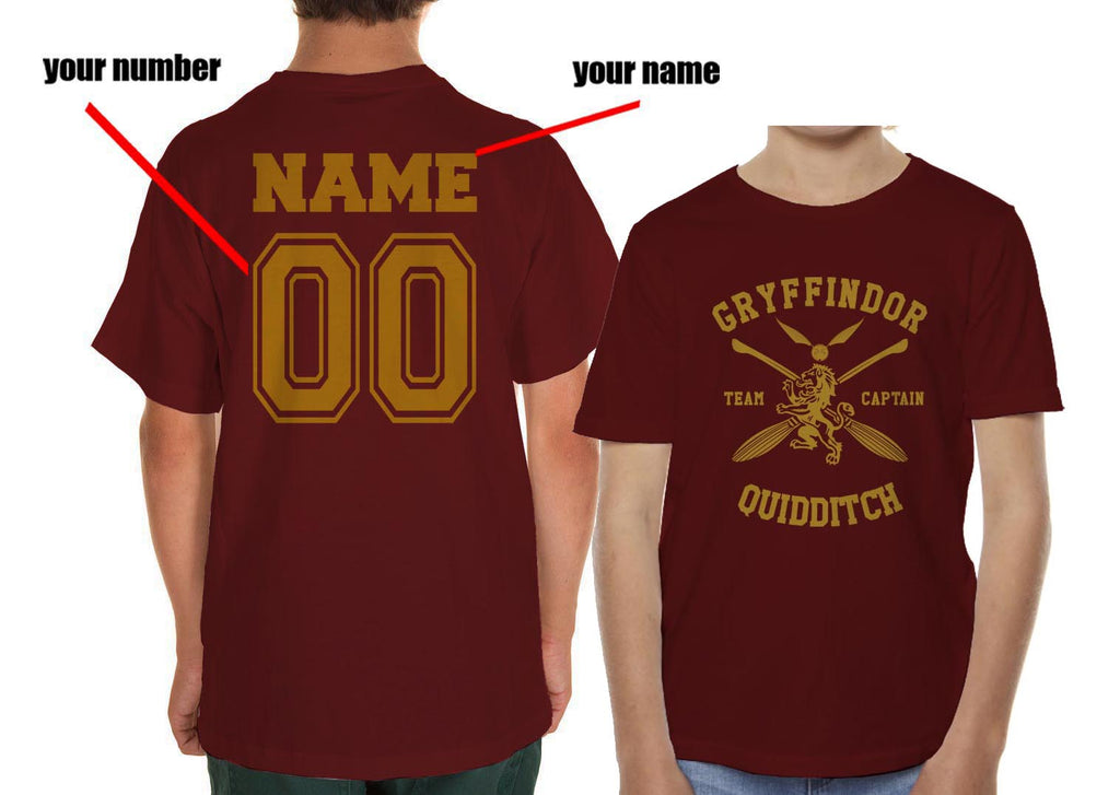 Customize - New Gryffindor CAPTAIN Quidditch Team Kid / Youth T-shirt tee