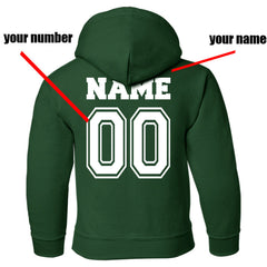 Customize - New Slytherin BEATER Quidditch Yellow Team Kid / Youth Hoodie Forest Green