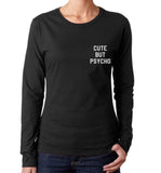 Cute But Psycho Pocket Women Long sleeve T-shirt