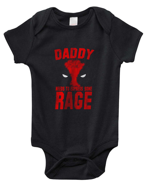 Daddy Needs to Express Some Rage Deadpool new Rabbit Skins Infant Baby Rib Lap Shoulder Creeper Onesies - Meh. Geek