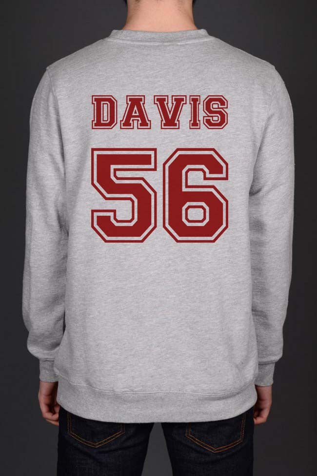 Davis 56 Maroon Ink on Back Greys Anatomy Unisex Crewneck Sweatshirt - Meh. Geek