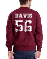 Davis 56 White Ink on Back Greys Anatomy Unisex Crewneck Sweatshirt - Meh. Geek