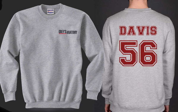 Davis 56 Maroon Ink on Back Greys Anatomy Logo Pocket on Front Unisex Crewneck Sweatshirt - Meh. Geek